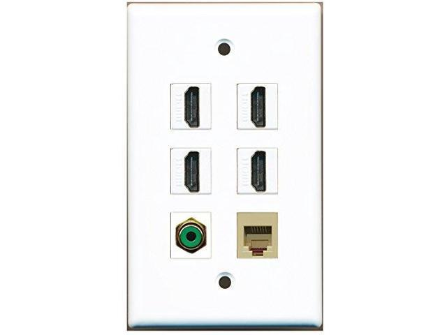 RiteAV - 4 Port HDMI 1 RCA Green 1 Phone RJ11 RJ12 Beige Wall Plate