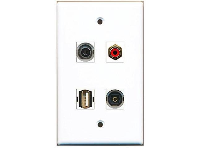 RiteAV - 1 Port RCA Red 1 Port USB A-A 1 Port Toslink 1 Port 3.5mm Wall Plate