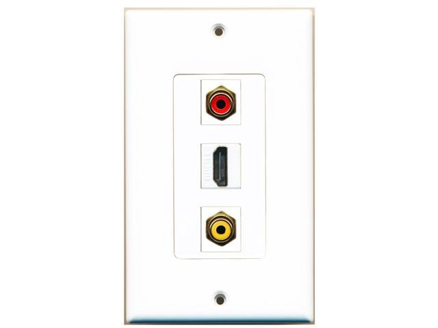 RiteAV - 1 Port HDMI and 1 Port RCA Red and 1 Port RCA Yellow Decora Wall Plate