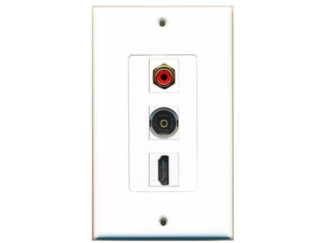 RiteAV - 1 Port HDMI and 1 Port RCA Red and 1 Port Toslink Decora Wall Plate ...