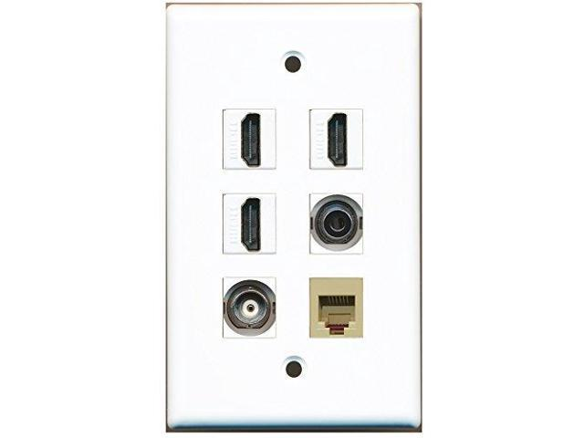 RiteAV - 3 HDMI 1 Port Phone RJ11 RJ12 Beige 1 Port 3.5mm 1 Port BNC Wall Plate