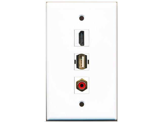 RiteAV - 1 Port HDMI and 1 Port RCA Red and 1 Port USB A-A Wall Plate
