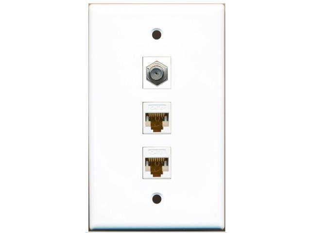riteav - 1 port coax cable tv- f-type 2 port cat6 ethernet white wall plate