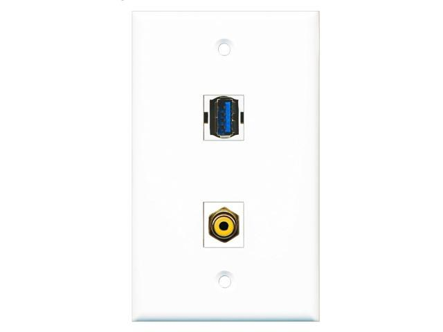 RiteAV - 1 Port RCA Yellow 1 Port USB 3 A-A Wall Plate