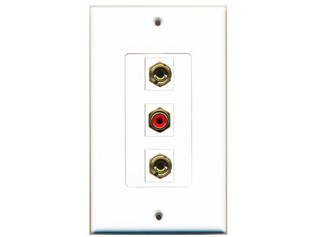 RiteAV - 1 Port RCA Red 2 Port Banana Speaker Decora Wall Plate Decora