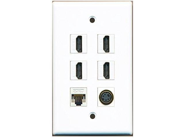 RiteAV - 4 Port HDMI 1 S-Video 1 Cat5e Ethernet White Wall Plate