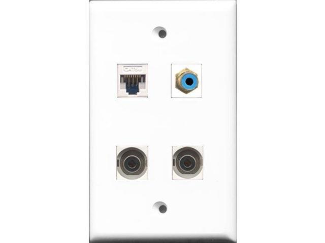 RiteAV 1 Port RCA Blue 2 Port 3.5mm and 1 Port Cat5e Ethernet White Wall Plate