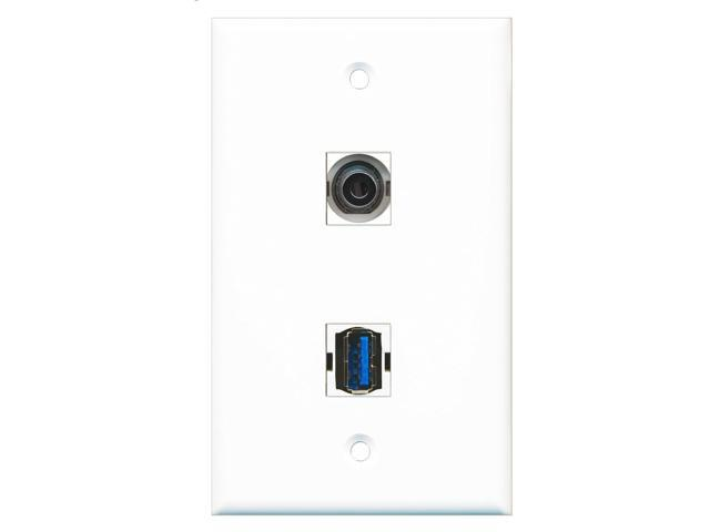 RiteAV - 1 Port 3.5mm 1 Port USB 3 A-A Wall Plate