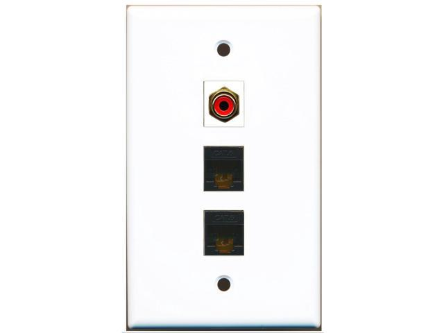 RiteAV - 1 Port RCA Red 2 Port Cat6 Ethernet Black Wall Plate