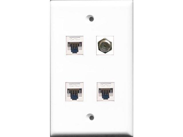 RiteAV - 1 Port Coax Cable TV- F-Type 3 Port Cat5e Ethernet White Wall Plate
