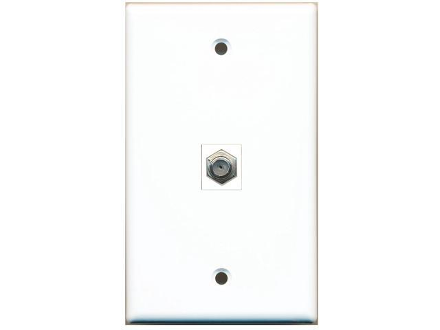 riteav - 1 port coax cable tv- f-type wall plate