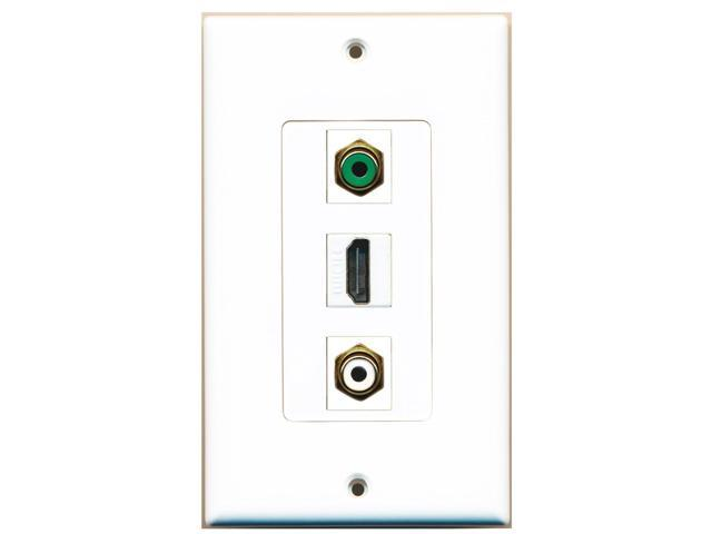RiteAV - 1 Port HDMI and 1 Port RCA White and 1 Port RCA Green Decora Wall Plate