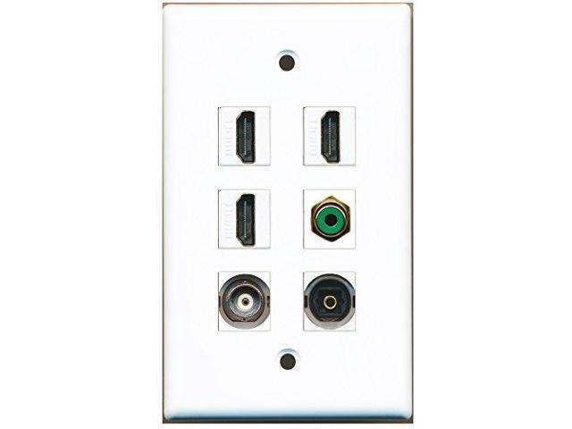 RiteAV - 3 HDMI 1 Port RCA Green 1 Port Toslink 1 Port BNC Wall Plate