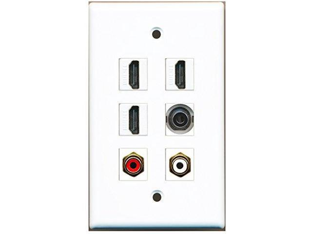 RiteAV - 3 HDMI 1 Port RCA Red 1 Port RCA White 1 Port 3.5mm Wall Plate