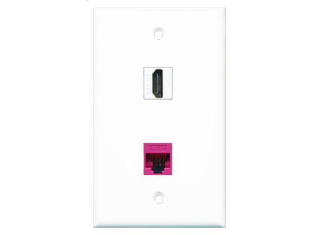 RiteAV - 1 Port HDMI - 1 Port Cat5e Ethernet Pink Wall Plate White