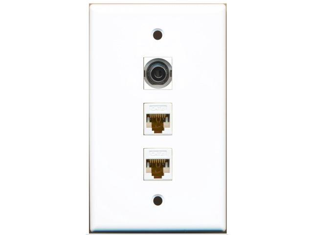 RiteAV - 1 Port 3.5mm 2 Port Cat6 Ethernet White Wall Plate