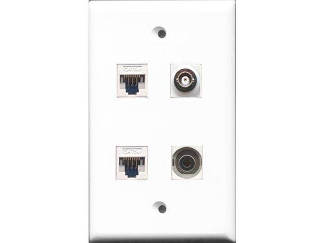 RiteAV - 1 Port 3.5mm and 1 Port BNC 2 Port Cat5e Ethernet White Wall Plate