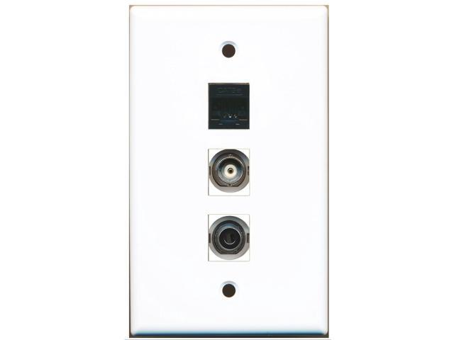 RiteAV - 1 Port 3.5mm and 1 Port BNC and 1 Port Cat5e Ethernet Black Wall Plate