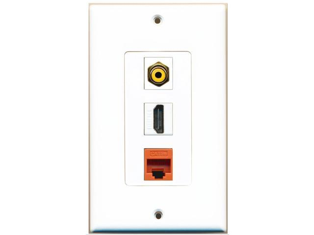 RiteAV - 1 Port HDMI 1 RCA Yellow 1 Cat5e Ethernet Orange Wall Plate Decora