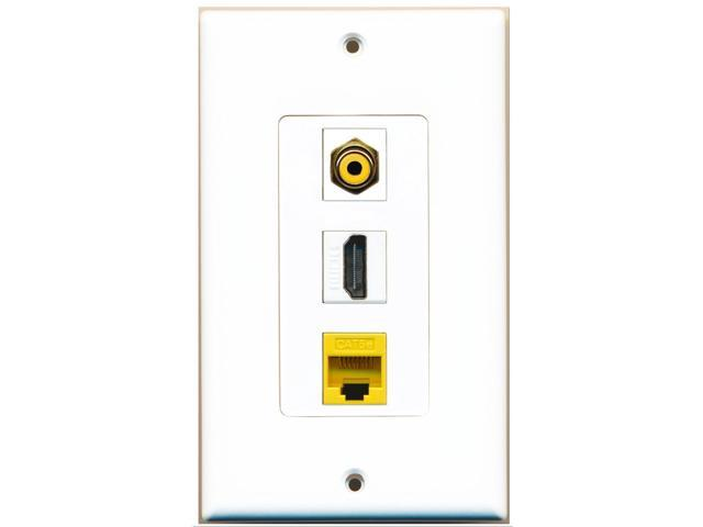 RiteAV - 1 Port HDMI 1 RCA Yellow 1 Cat5e Ethernet Yellow Wall Plate Decora