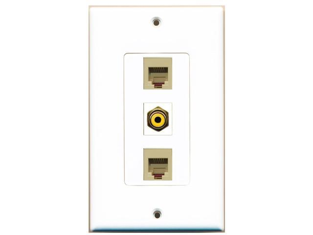 RiteAV - 1 Port RCA Yellow 2 Port Phone RJ11 RJ12 Beige Decora Wall Plate Decora