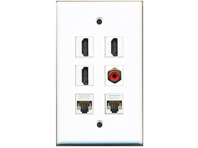 RiteAV - 3 HDMI 1 Port RCA Red 2 Port Cat5e Ethernet White Wall Plate