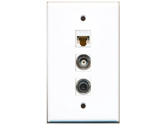 RiteAV - 1 Port 3.5mm and 1 Port BNC and 1 Port Cat6 Ethernet White Wall Plate