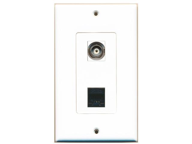 RiteAV - 1 Port BNC - 1 Port Cat5e Ethernet Black Wall Plate Decorative White