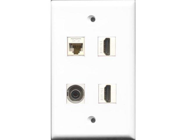 RiteAV - 2 Port HDMI and 1 Port 3.5mm and 1 Port Cat6 Ethernet White Wall Plate