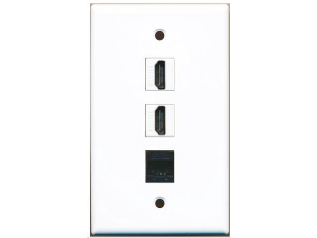 RiteAV - 2 Port HDMI and 1 Port Cat5e Ethernet Black Wall Plate