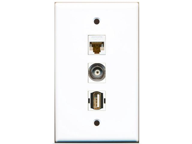 RiteAV - 1 Port USB A-A and 1 Port BNC and 1 Port Cat6 Ethernet White Wall Plate