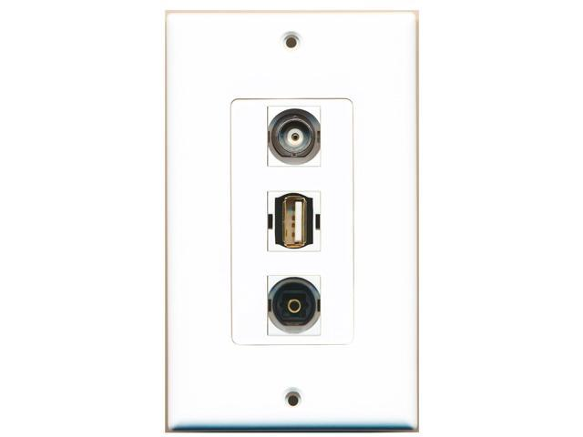 RiteAV - 1 Port USB A-A and 1 Port Toslink and 1 Port BNC Decora Wall Plate D...