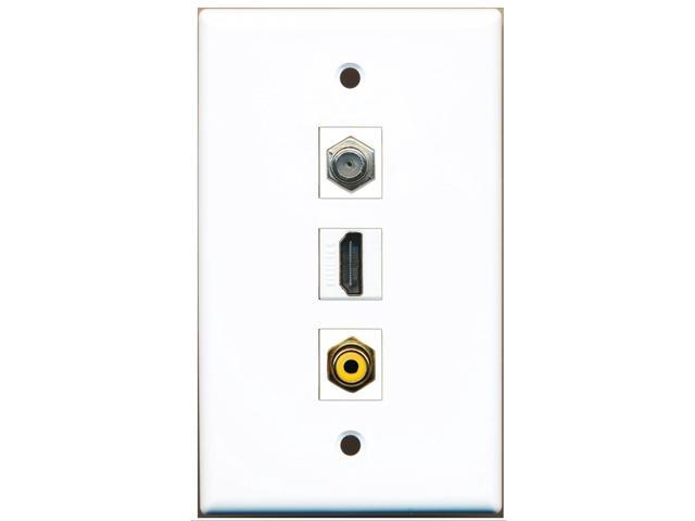 RiteAV - 1 Port HDMI 1 RCA Yellow 1 Coax Cable TV- F-Type Wall Plate