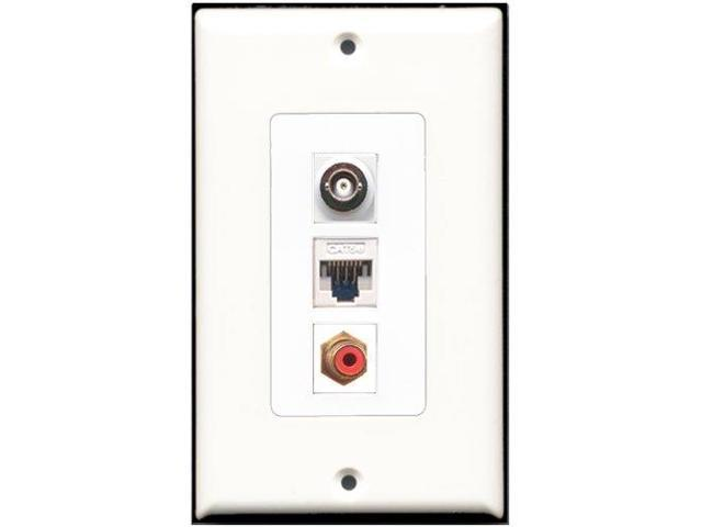 RiteAV - 1 Port RCA Red 1 BNC 1 Cat5e Ethernet White Wall Plate Decora