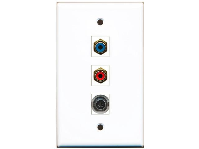RiteAV - 1 Port RCA Red and 1 Port RCA Blue and 1 Port 3.5mm Wall Plate