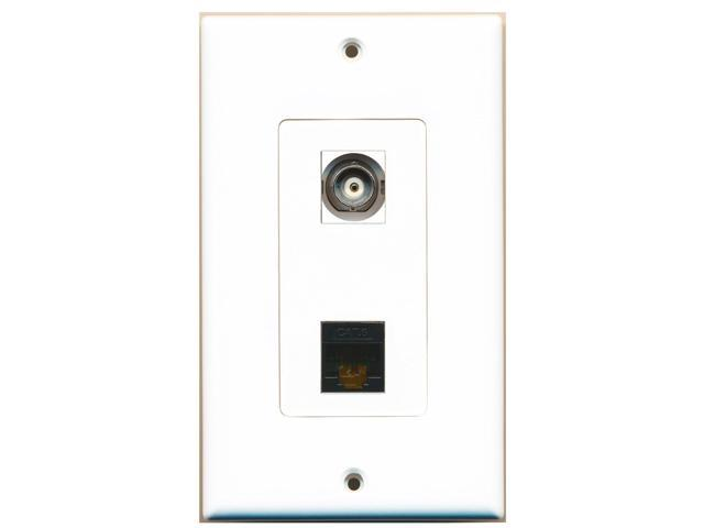 RiteAV - 1 Port BNC 1 Port Cat6 Black Wall Plate Decorative White