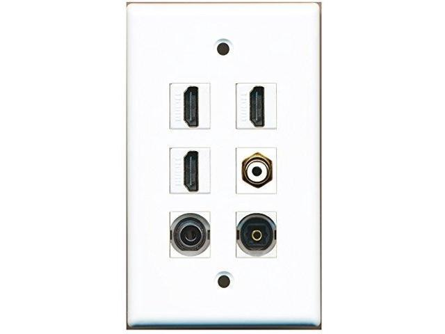 RiteAV - 3 HDMI 1 Port RCA White 1 Port Toslink 1 Port 3.5mm Wall Plate