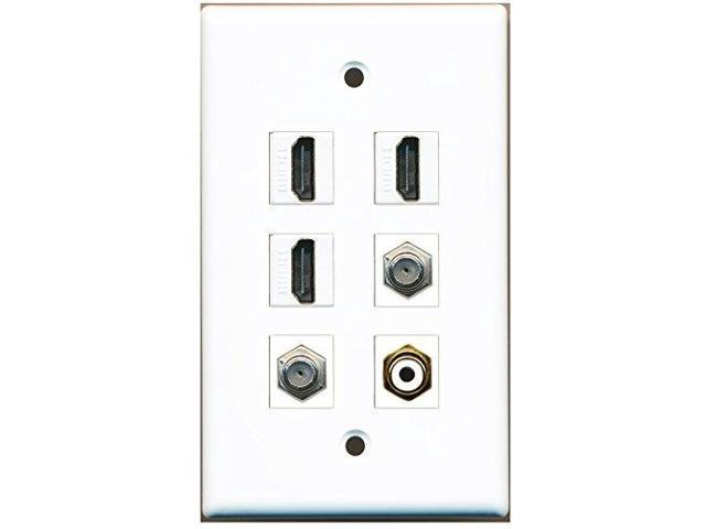 RiteAV - 3 HDMI 1 Port RCA White 2 Port Coax Cable TV- F-Type Wall Plate