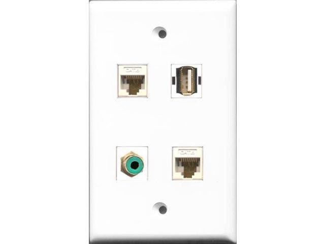 RiteAV 1 Port RCA Green and 1 Port USB A-A 2 Port Cat6 Ethernet White Wall Plate
