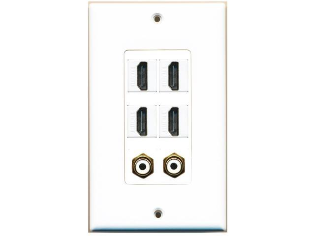 RiteAV - 4 Port HDMI 2 Port RCA White Wall Plate Decorative