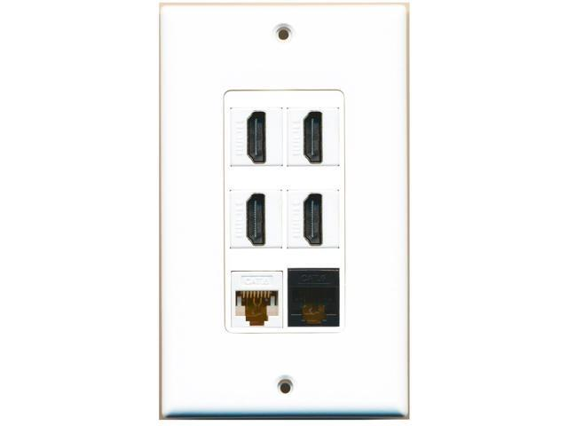 RiteAV - 4 Port HDMI 1 Cat6 Ethernet White 1 Cat6 Ethernet Black Wall Plate D...