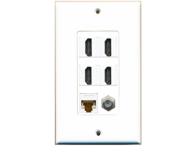 riteav - 4 port hdmi 1 coax cable tv- f-type 1 cat6 ethernet white wall plate