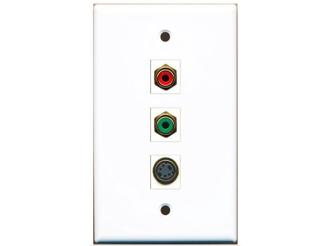 RiteAV - 1 Port RCA Red and 1 Port RCA Green and 1 Port S-Video Wall Plate