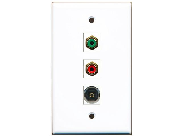 RiteAV - 1 Port RCA Red and 1 Port RCA Green and 1 Port Toslink Wall Plate