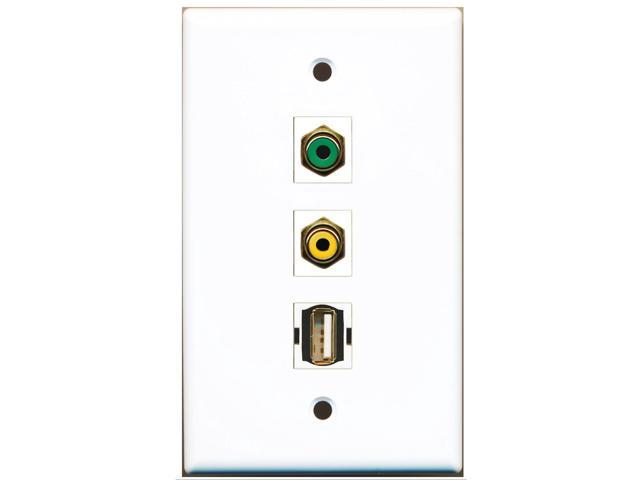 RiteAV - 1 Port RCA Yellow and 1 Port RCA Green and 1 Port USB A-A Wall Plate