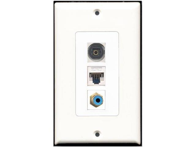 RiteAV - 1 Port RCA Blue 1 Toslink 1 Cat5e Ethernet White Wall Plate Decora