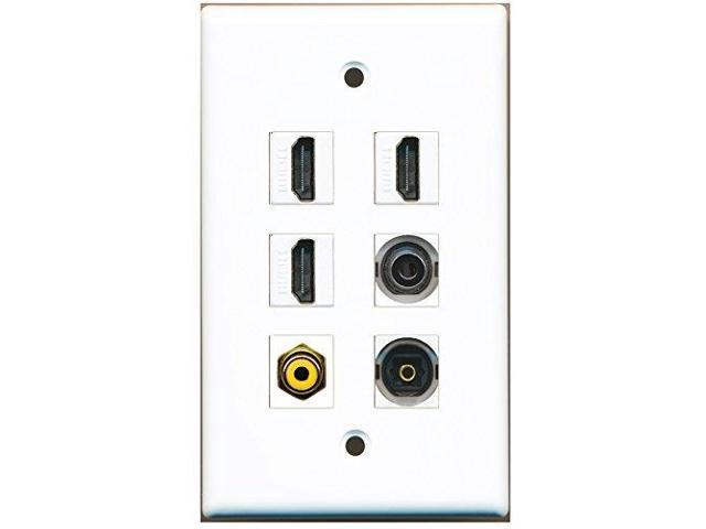 RiteAV - 3 HDMI 1 Port RCA Yellow 1 Port Toslink 1 Port 3.5mm Wall Plate