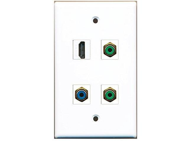 RiteAV - 1 Port HDMI 2 Port RCA Green 1 Port RCA Blue Wall Plate
