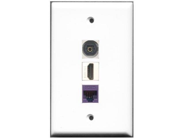 RiteAV - 1 Port HDMI 1 Toslink 1 Cat5e Ethernet Purple Wall Plate