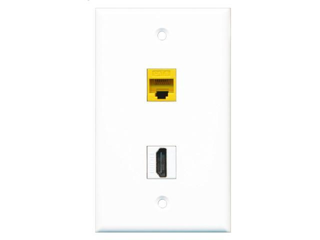 RiteAV - 1 Port HDMI 1 Port Cat6 Ethernet Yellow Wall Plate